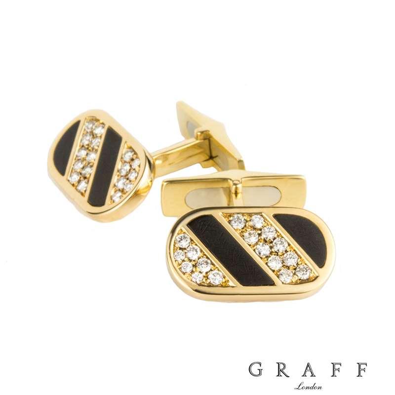 Graff 18k Yellow Gold Diamond & Enamel Cufflinks